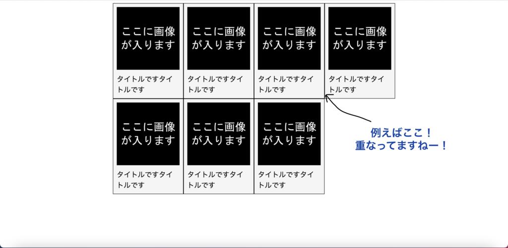 flexで横に並べたborder要素。1列目、2列目、3列目の右borderや2行目の上borderが重なって太くなってしまう。